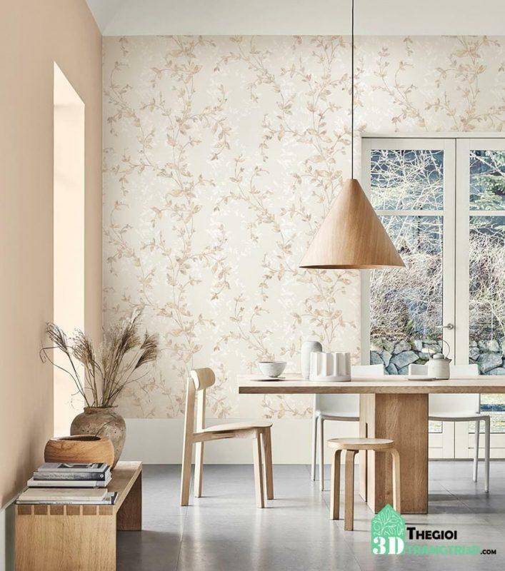 Phong cách hàn quốc với giấy dán tường hoa cỏ thiên nhiên