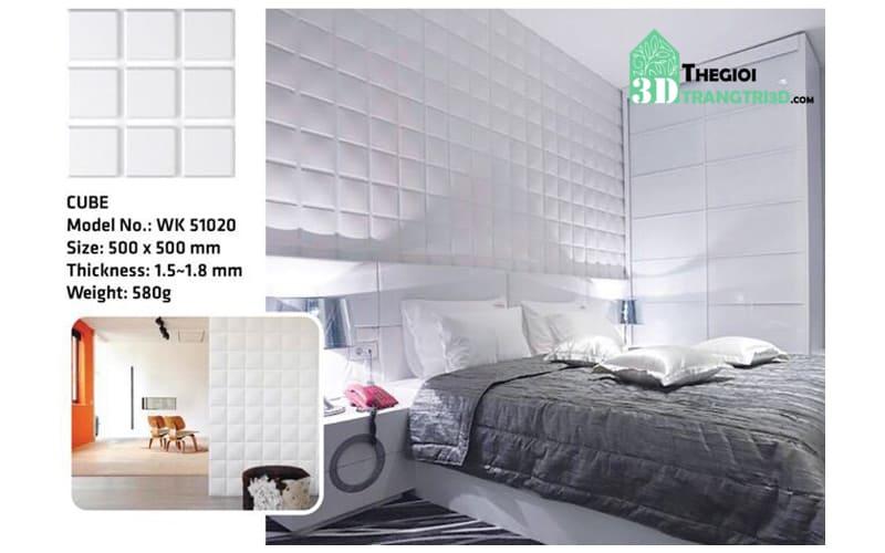 Ốp tường nhựa 3D PVC – CUBE WK51020