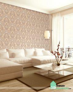 Phối cảnh giấy dán tường ANNIE, Các mẫu giấy dán tường phòng khách đẹp sang trọng