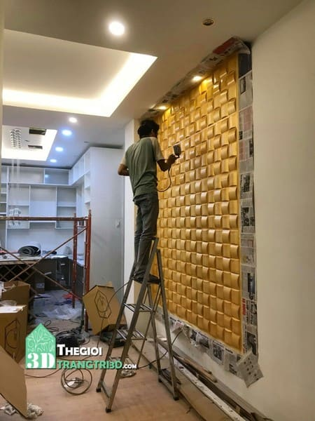 Thi công ốp tường 3d nhựa PVC
