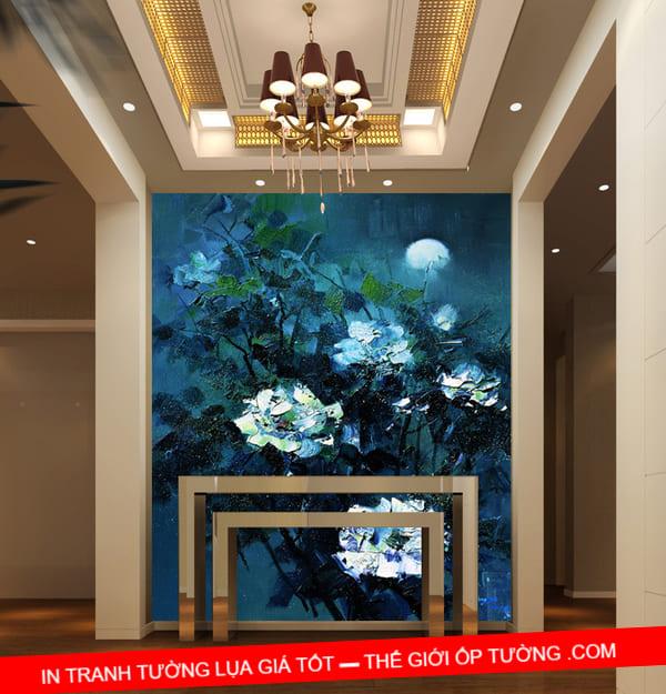 Tranh dán tường 3D đẹp mẫu 02 mua tranh canvas hoa sen ở đâu chất lượng, giá tốt nhất?