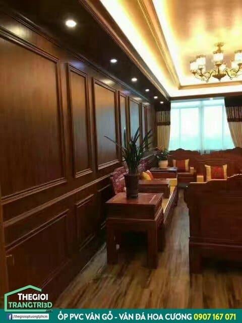 Tấm nhựa ốp tường pvc giả gỗ decor quán cafe đẹp như gỗ tự nhiên