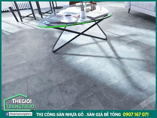 Thi công sàn nhựa giả đá hcm, sàn nhựa vân đá, sàn giả bê tông