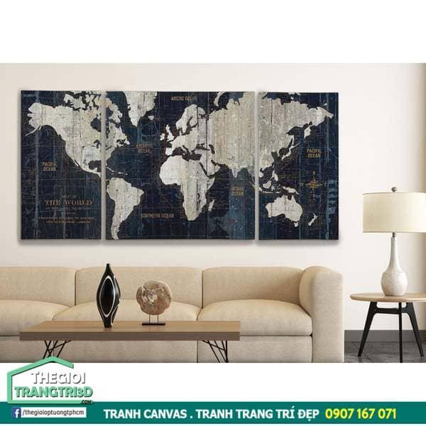 Mua tranh canvas bản đồ thế giới ở đâu, tranh trang trí rẻ đẹp