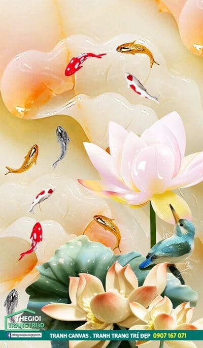 Tranh canvas hoa sen phong thủy