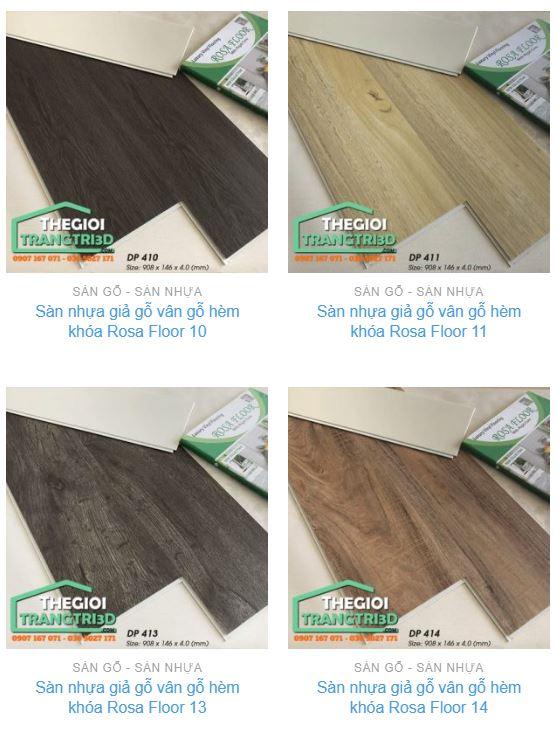 Bảng màu sàn gỗ nhựa hèm khóa Rosa mô phỏng gỗ tự nhiên