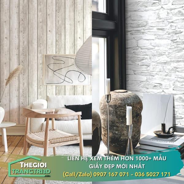 Giấy dán tường giả gạch giả đá, giấy dán tường thiên nhiên đẹp