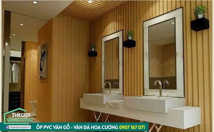 ốp tường nhựa giả gỗ, ốp tường vân gỗ nan sóng