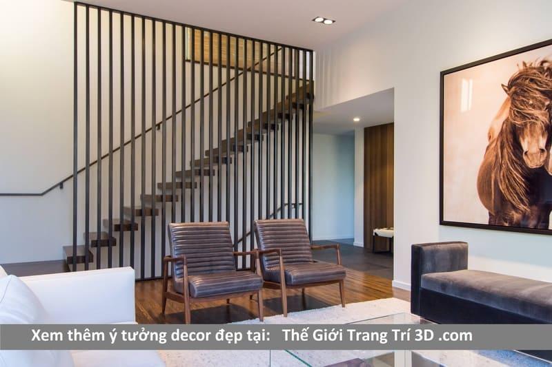 trang trí cầu thang đẹp với vách ngăn thanh lam nhựa gỗ