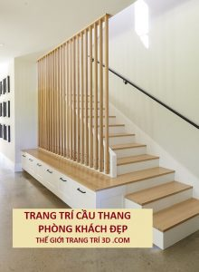 Học cách trang trí cầu thang phòng khách đẹp của các kiến trúc sư