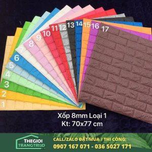Tấm xốp dán tường giả gạch đá 8mm dày loại 1 - cửa hàng xốp dán tường tphcm