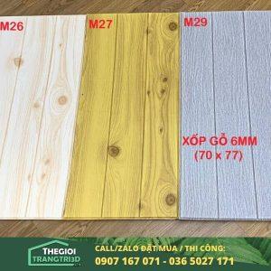 Xốp dán tường 3D giả gỗ 6mm, ốp tường xốp 3d giá rẻ tphcm mỹ tho