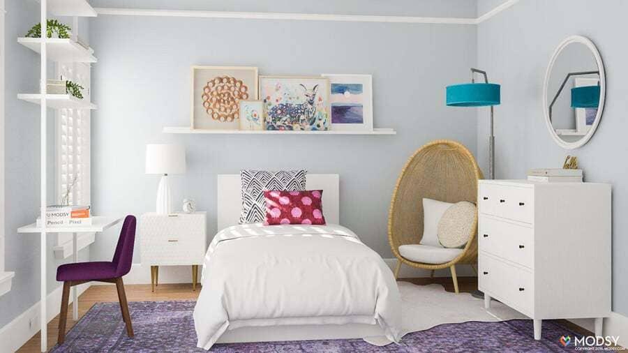 cần hạn chế chọn các màu tối vì dễ khiến cho không gian phòng ngủ càng thêm nhỏ. Thiết kế phòng ngủ hỏ cho trẻ em