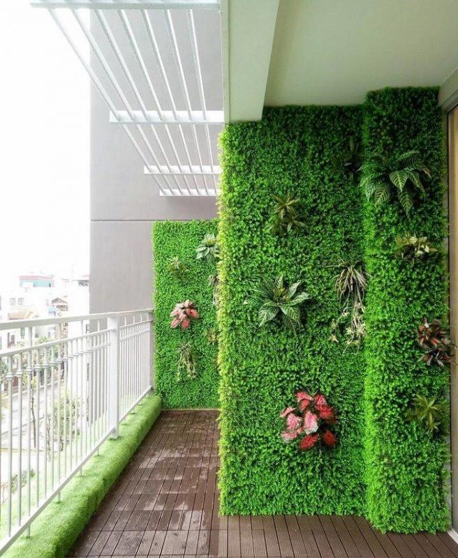 cỏ nhựa ốp tường trang trí